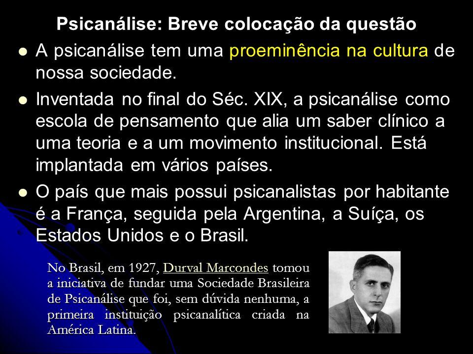 Psicanálise: Breve colocação da questão A psicanálise tem de nossa sociedade. A psicanálise tem uma proeminência na cultura de nossa sociedade. Invent