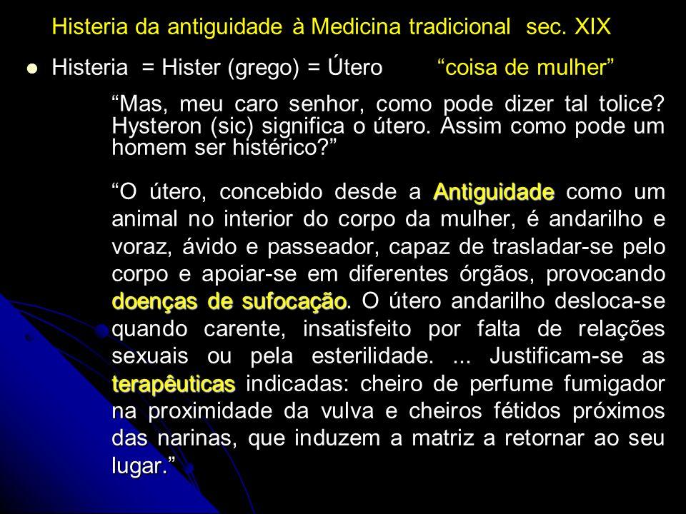 Histeria da antiguidade à Medicina tradicional sec. XIX Histeria = Hister (grego) = Útero coisa de mulher Mas, meu caro senhor, como pode dizer tal to