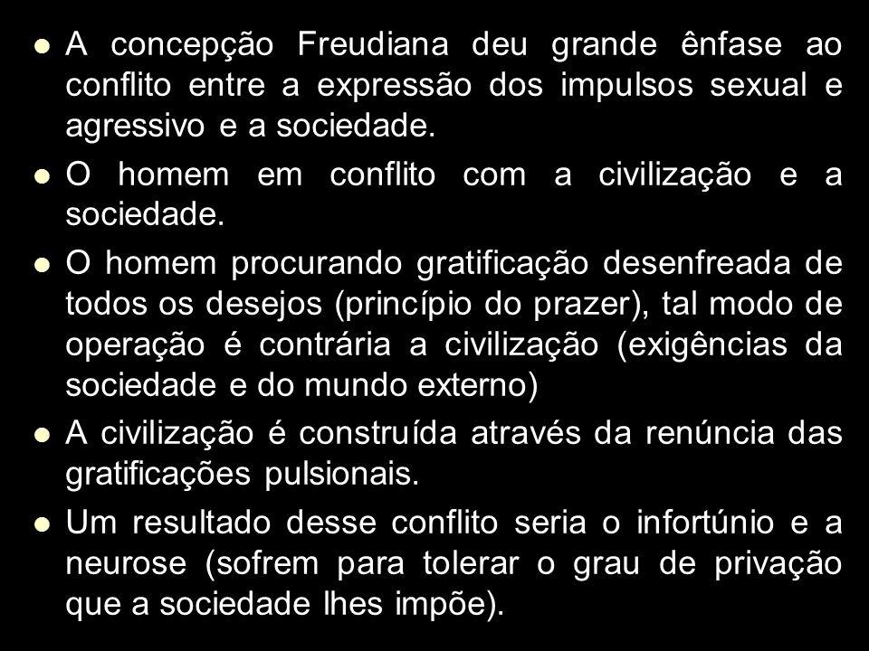 A concepção Freudiana deu grande ênfase ao conflito entre a expressão dos impulsos sexual e agressivo e a sociedade. A concepção Freudiana deu grande