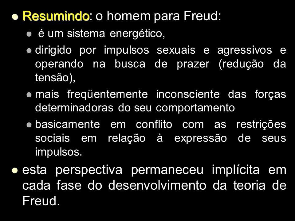 Resumindo: o homem para Freud: Resumindo: o homem para Freud: é um sistema energético, é um sistema energético, dirigido por impulsos sexuais e agress