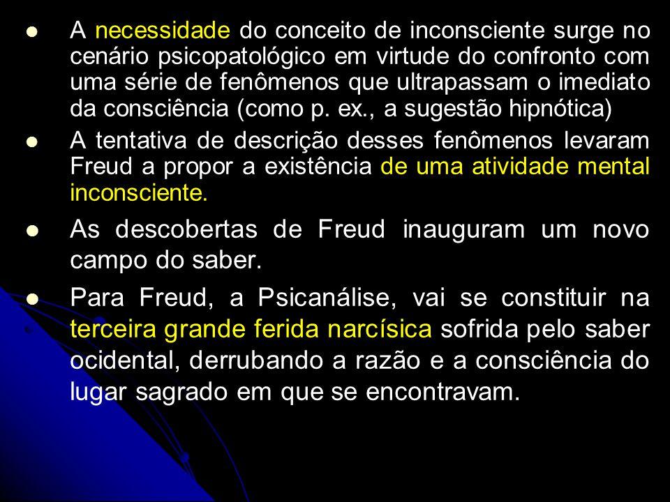 A necessidade do conceito de inconsciente surge no cenário psicopatológico em virtude do confronto com uma série de fenômenos que ultrapassam o imedia