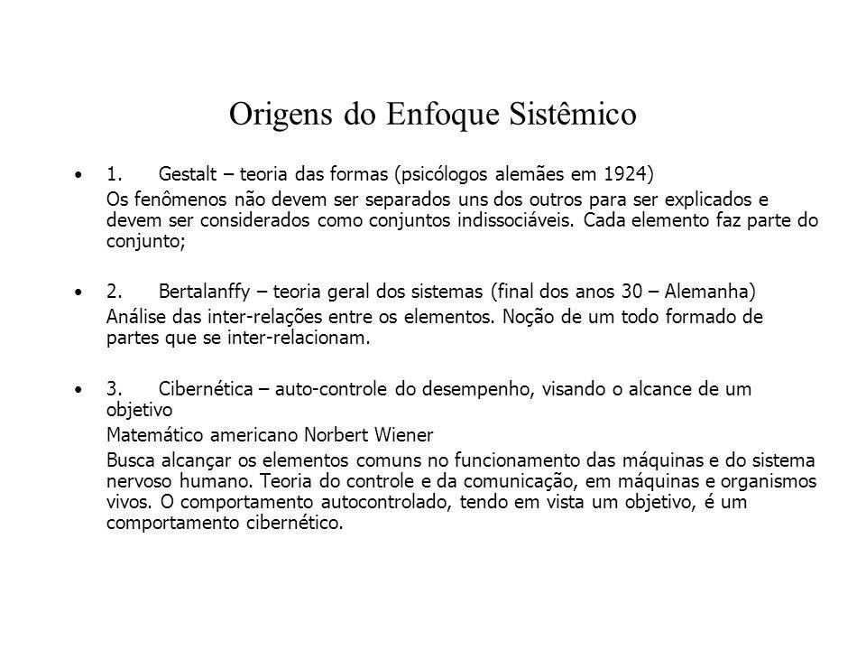 Origens do Enfoque Sistêmico 1. Gestalt – teoria das formas (psicólogos alemães em 1924) Os fenômenos não devem ser separados uns dos outros para ser