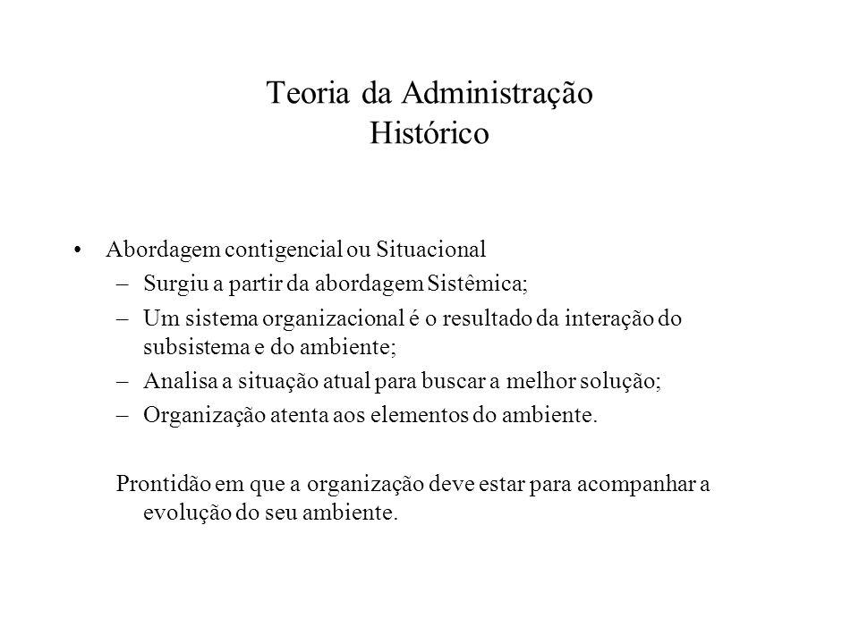 Teoria da Administração Histórico Abordagem contigencial ou Situacional –Surgiu a partir da abordagem Sistêmica; –Um sistema organizacional é o result