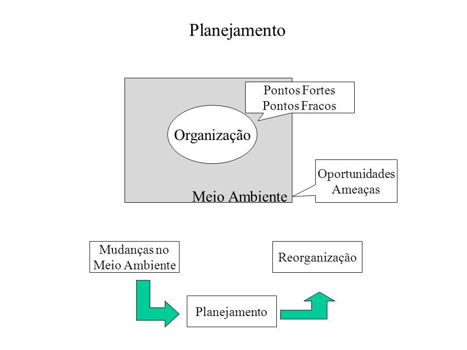 Meio Ambiente Planejamento Organização Pontos Fortes Pontos Fracos Oportunidades Ameaças Mudanças no Meio Ambiente Planejamento Reorganização