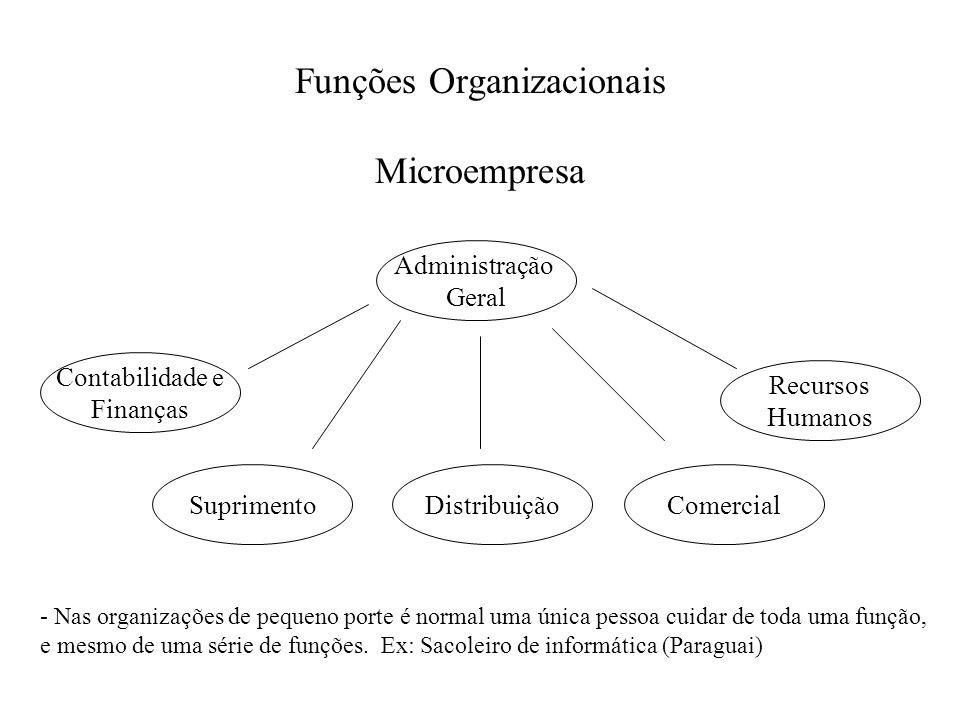 Funções Organizacionais Microempresa Administração Geral Contabilidade e Finanças SuprimentoDistribuiçãoComercial Recursos Humanos - Nas organizações