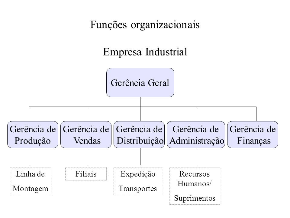 Funções organizacionais Empresa Industrial Gerência Geral Gerência de Produção Gerência de Vendas Gerência de Distribuição Gerência de Administração G