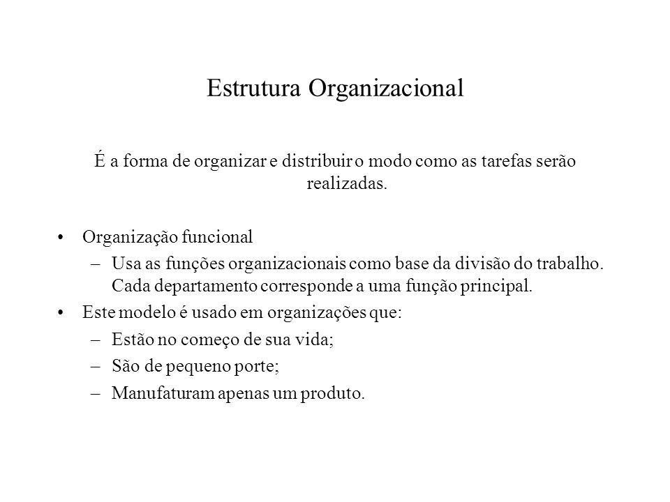 Estrutura Organizacional É a forma de organizar e distribuir o modo como as tarefas serão realizadas. Organização funcional –Usa as funções organizaci