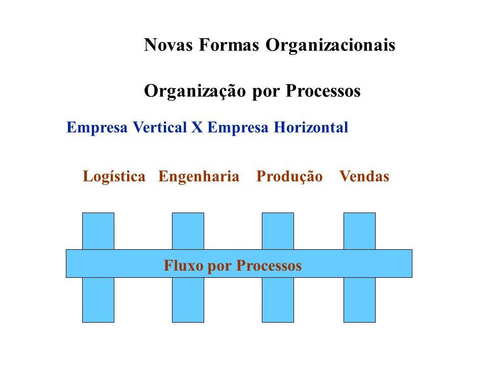 Logística Engenharia Produção Vendas Fluxo por Processos Empresa Vertical X Empresa Horizontal Novas Formas Organizacionais Organização por Processos