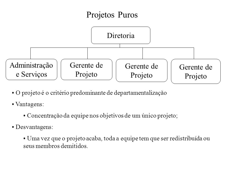 Projetos Puros Diretoria Gerente de Projeto Gerente de Projeto Gerente de Projeto Administração e Serviços O projeto é o critério predominante de depa