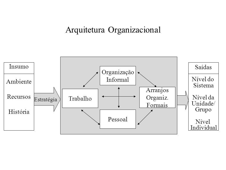 Arquitetura Organizacional Insumo Ambiente Recursos História Organização Informal Pessoal Trabalho Arranjos Organiz. Formais Saídas Nível do Sistema N