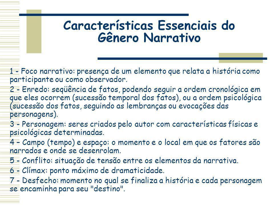 Características Essenciais do Gênero Narrativo 1 - Foco narrativo: presença de um elemento que relata a história como participante ou como observador.