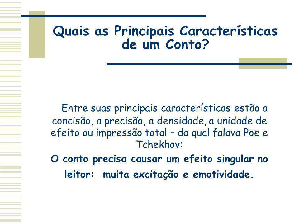 Quais as Principais Características de um Conto? Entre suas principais características estão a concisão, a precisão, a densidade, a unidade de efeito