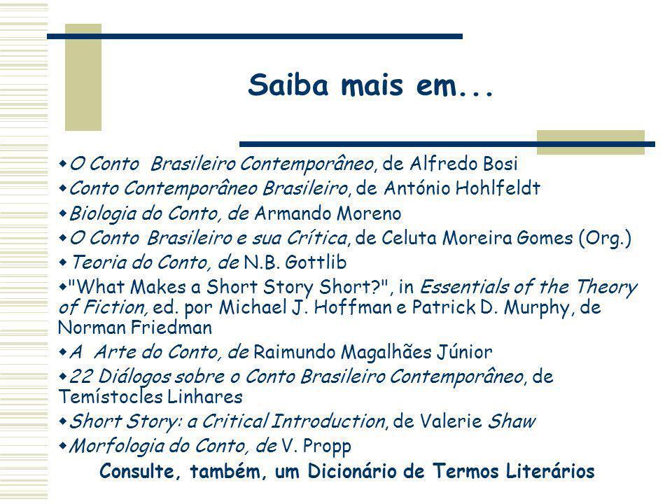 Saiba mais em... O Conto Brasileiro Contemporâneo, de Alfredo Bosi Conto Contemporâneo Brasileiro, de António Hohlfeldt Biologia do Conto, de Armando
