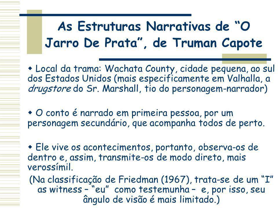 As Estruturas Narrativas de O Jarro De Prata, de Truman Capote Local da trama: Wachata County, cidade pequena, ao sul dos Estados Unidos (mais especif