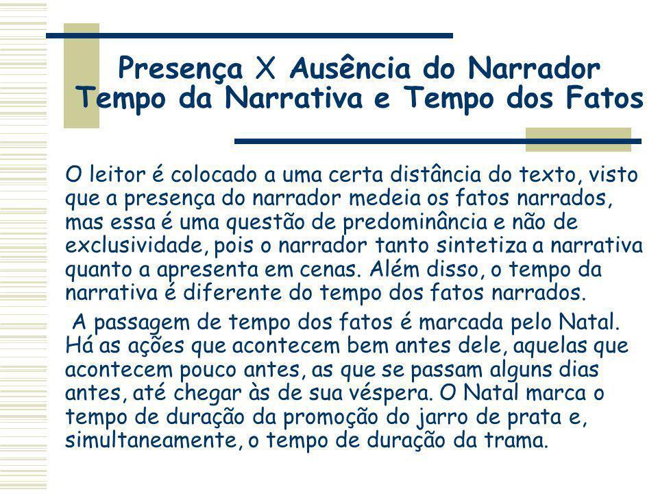Presença X Ausência do Narrador Tempo da Narrativa e Tempo dos Fatos O leitor é colocado a uma certa distância do texto, visto que a presença do narra