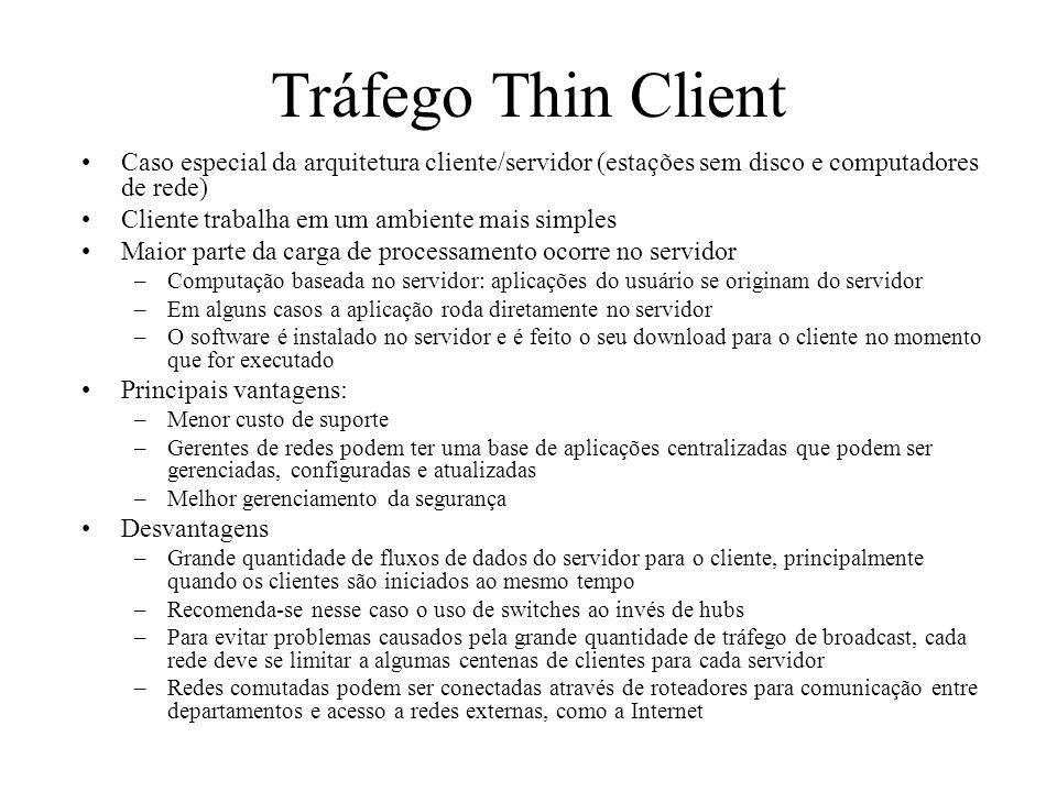 Tráfego Thin Client Caso especial da arquitetura cliente/servidor (estações sem disco e computadores de rede) Cliente trabalha em um ambiente mais sim