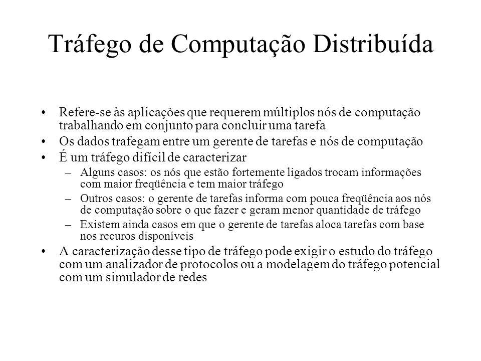Tráfego de Computação Distribuída Refere-se às aplicações que requerem múltiplos nós de computação trabalhando em conjunto para concluir uma tarefa Os