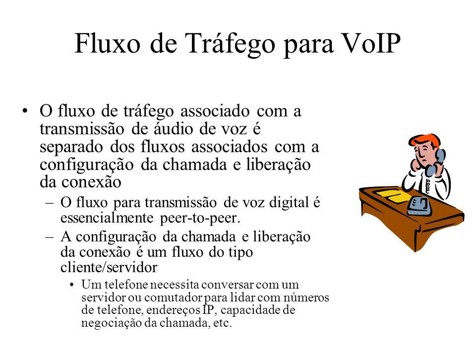 Fluxo de Tráfego para VoIP O fluxo de tráfego associado com a transmissão de áudio de voz é separado dos fluxos associados com a configuração da chama