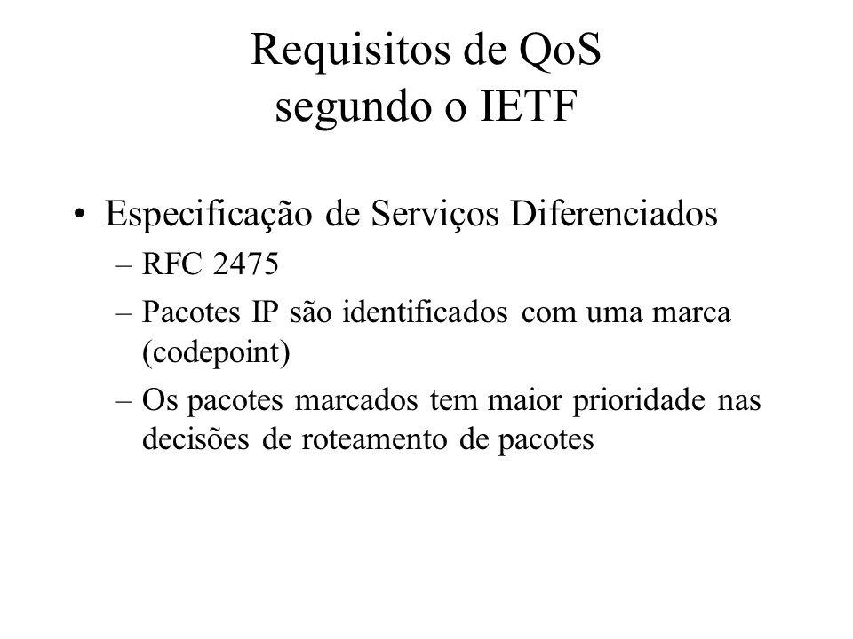 Requisitos de QoS segundo o IETF Especificação de Serviços Diferenciados –RFC 2475 –Pacotes IP são identificados com uma marca (codepoint) –Os pacotes