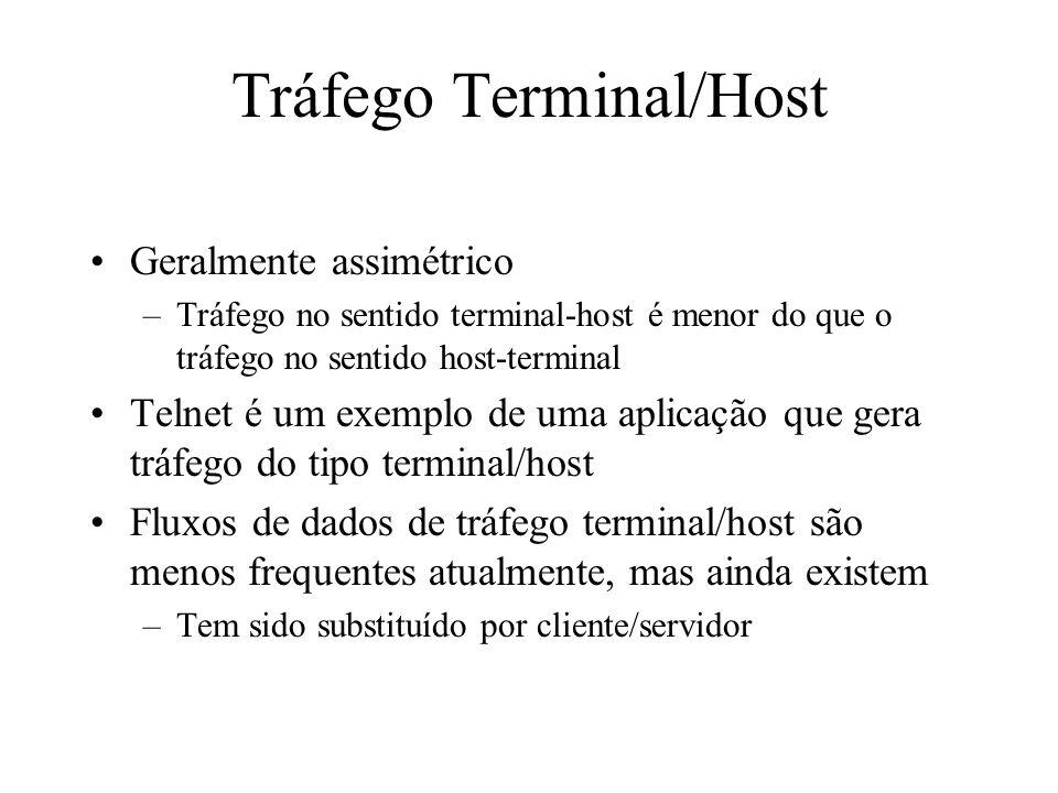 Tráfego Terminal/Host Geralmente assimétrico –Tráfego no sentido terminal-host é menor do que o tráfego no sentido host-terminal Telnet é um exemplo d