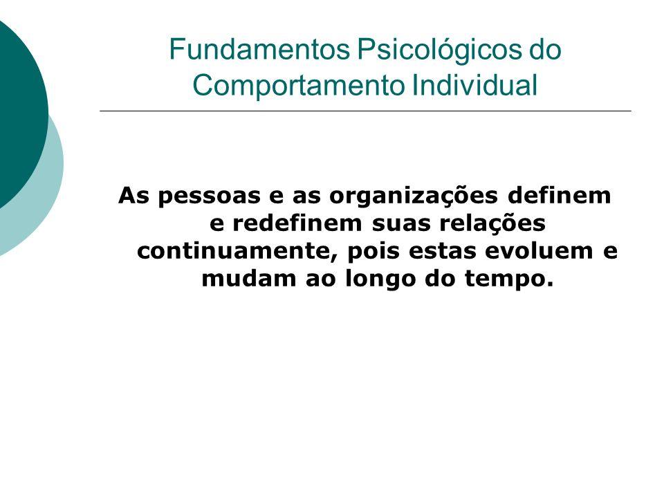 Fundamentos Psicológicos do Comportamento Individual As pessoas e as organizações definem e redefinem suas relações continuamente, pois estas evoluem