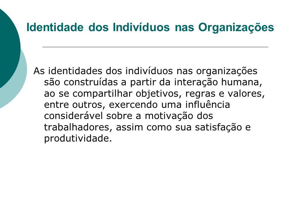 Identidade dos Indivíduos nas Organizações As identidades dos indivíduos nas organizações são construídas a partir da interação humana, ao se comparti