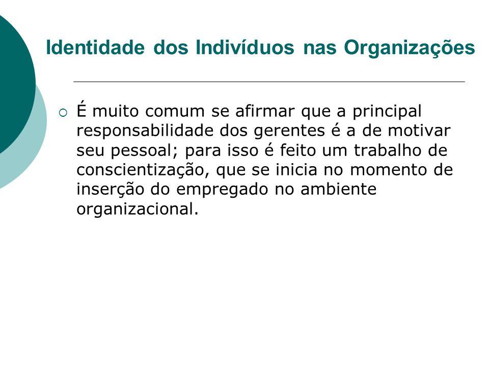 Identidade dos Indivíduos nas Organizações É muito comum se afirmar que a principal responsabilidade dos gerentes é a de motivar seu pessoal; para iss