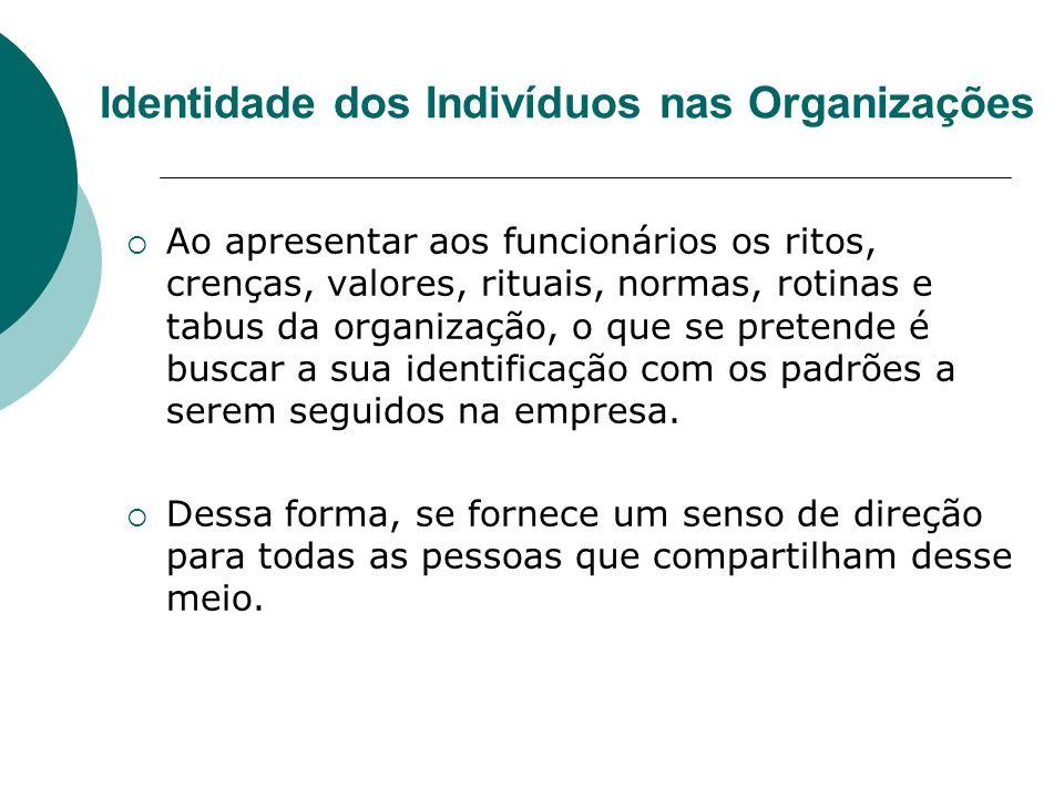 Identidade dos Indivíduos nas Organizações Ao apresentar aos funcionários os ritos, crenças, valores, rituais, normas, rotinas e tabus da organização,