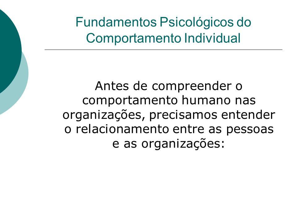 Fundamentos Psicológicos do Comportamento Individual Antes de compreender o comportamento humano nas organizações, precisamos entender o relacionament