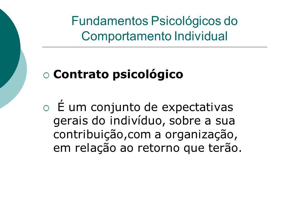 Contrato psicológico É um conjunto de expectativas gerais do indivíduo, sobre a sua contribuição,com a organização, em relação ao retorno que terão. F