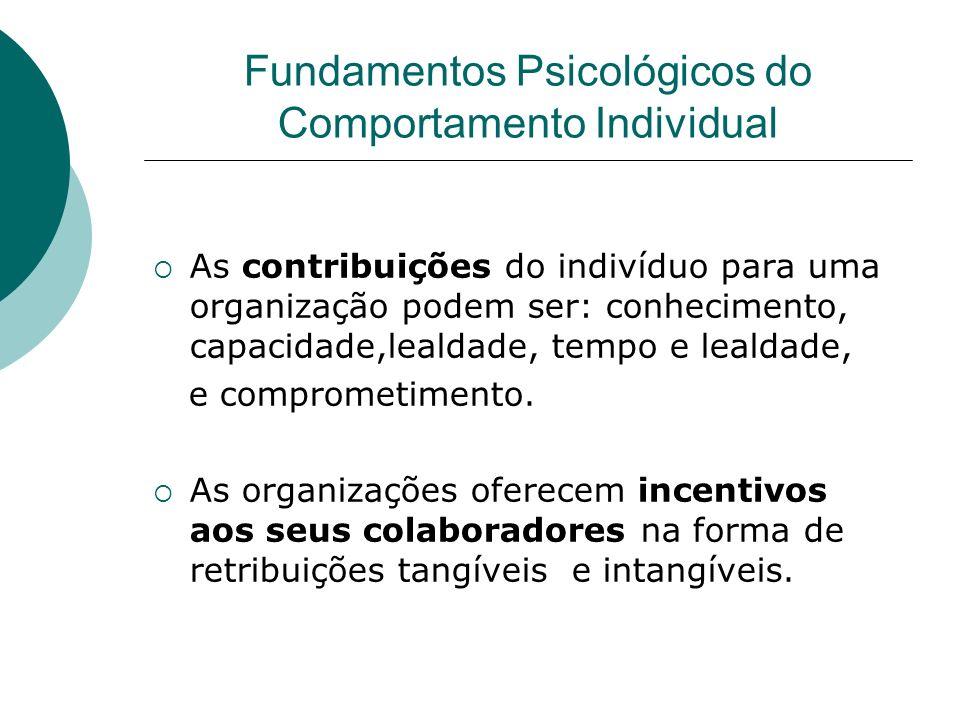 As contribuições do indivíduo para uma organização podem ser: conhecimento, capacidade,lealdade, tempo e lealdade, e comprometimento. As organizações