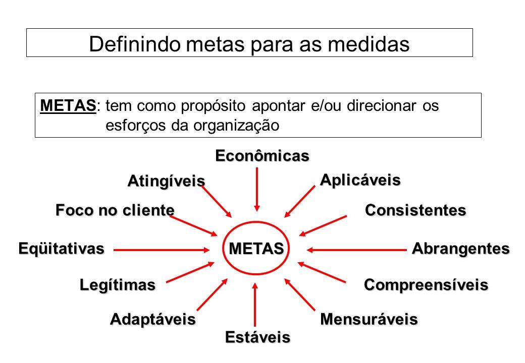 Definindo metas para as medidas METAS: tem como propósito apontar e/ou direcionar os esforços da organização METASEconômicas Abrangentes Estáveis Eqüi