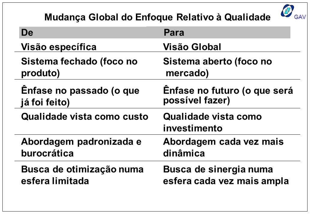 GAV Visão específicaVisão Global Sistema fechado (foco no produto) Sistema aberto (foco no mercado) Ênfase no passado (o que já foi feito) Ênfase no f