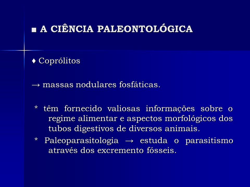 A CIÊNCIA PALEONTOLÓGICA A CIÊNCIA PALEONTOLÓGICA Coprólitos Coprólitos massas nodulares fosfáticas. massas nodulares fosfáticas. * têm fornecido vali