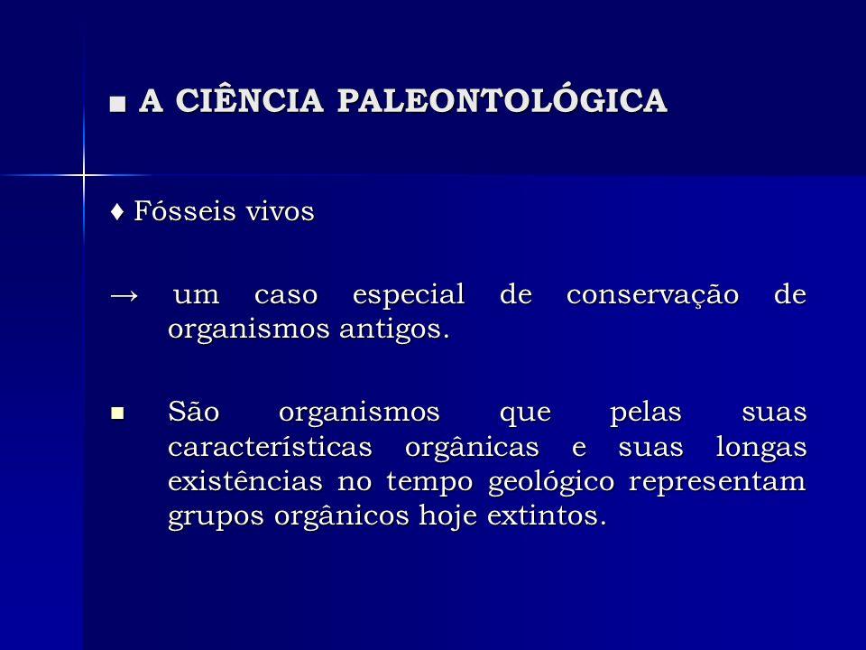 A CIÊNCIA PALEONTOLÓGICA A CIÊNCIA PALEONTOLÓGICA Fósseis vivos Fósseis vivos um caso especial de conservação de organismos antigos. um caso especial