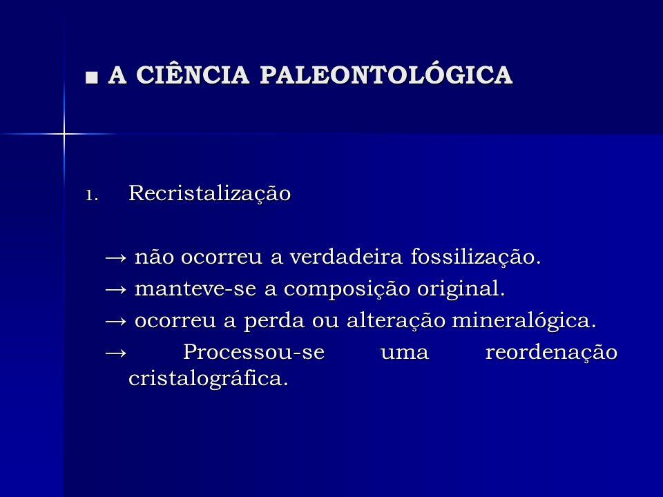 A CIÊNCIA PALEONTOLÓGICA A CIÊNCIA PALEONTOLÓGICA 1. Recristalização não ocorreu a verdadeira fossilização. não ocorreu a verdadeira fossilização. man