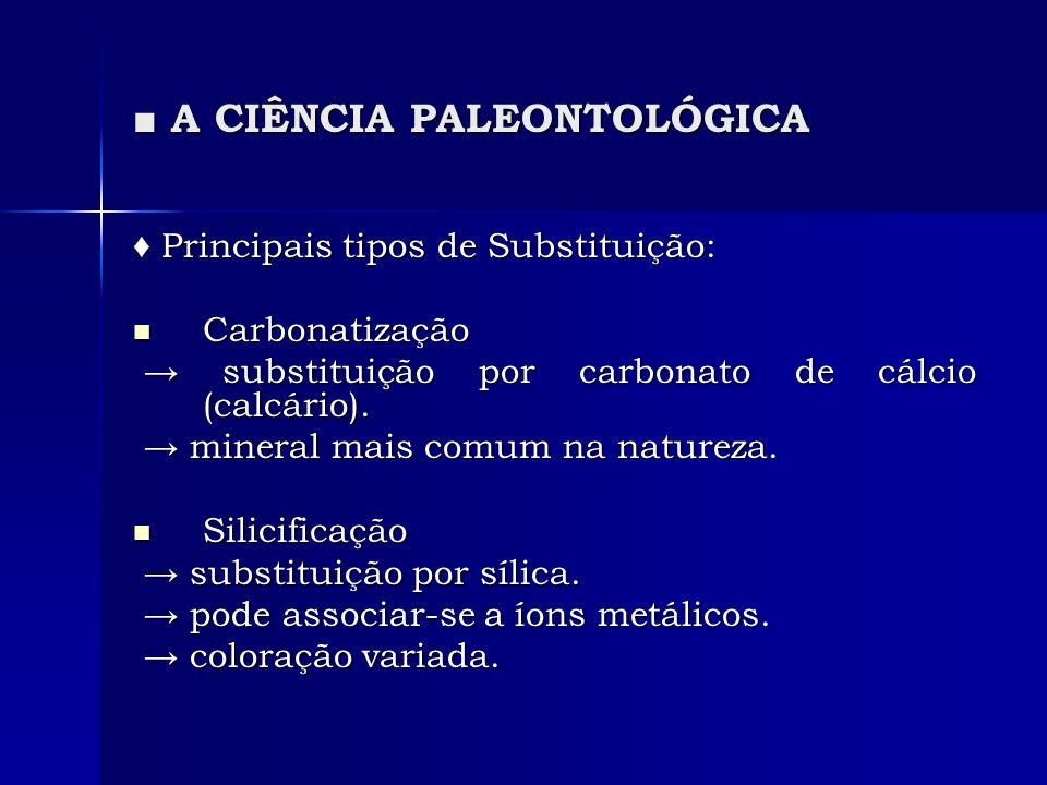 A CIÊNCIA PALEONTOLÓGICA A CIÊNCIA PALEONTOLÓGICA Principais tipos de Substituição: Principais tipos de Substituição: Carbonatização Carbonatização substituição por carbonato de cálcio (calcário).