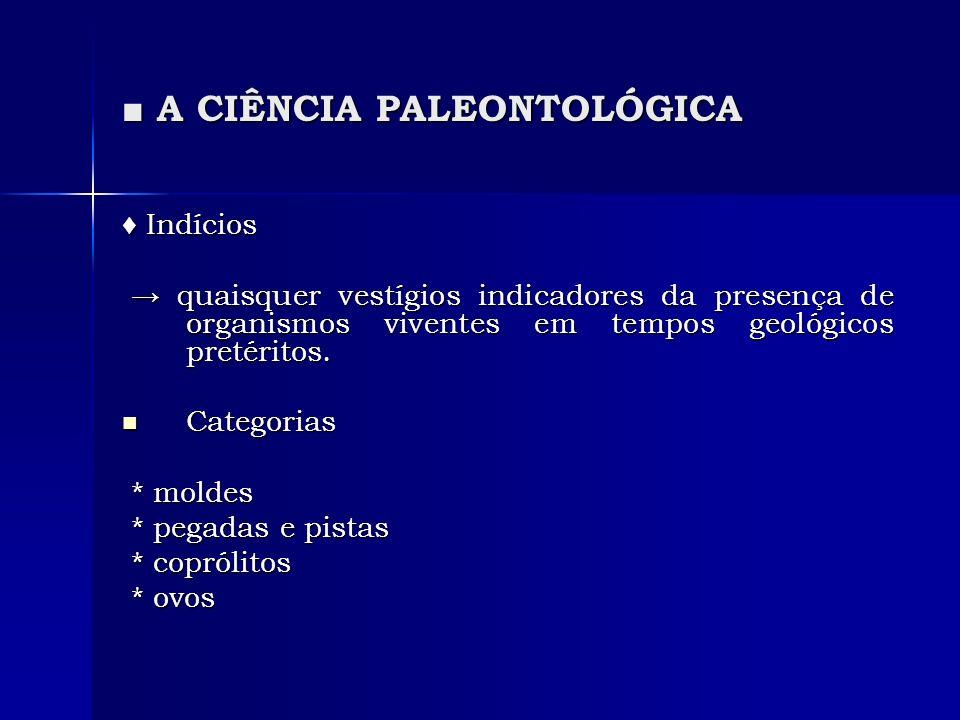 A CIÊNCIA PALEONTOLÓGICA A CIÊNCIA PALEONTOLÓGICA Indícios Indícios quaisquer vestígios indicadores da presença de organismos viventes em tempos geológicos pretéritos.