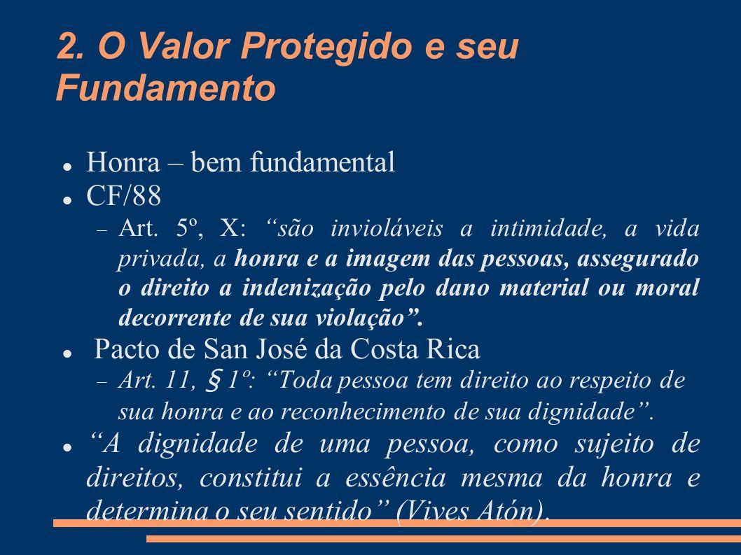 2. O Valor Protegido e seu Fundamento Honra – bem fundamental CF/88 Art. 5º, X: são invioláveis a intimidade, a vida privada, a honra e a imagem das p