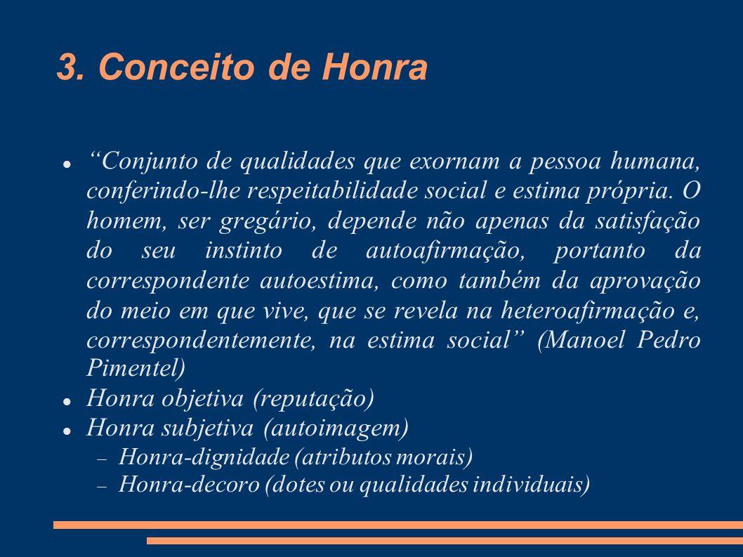 3. Conceito de Honra Conjunto de qualidades que exornam a pessoa humana, conferindo-lhe respeitabilidade social e estima própria. O homem, ser gregári