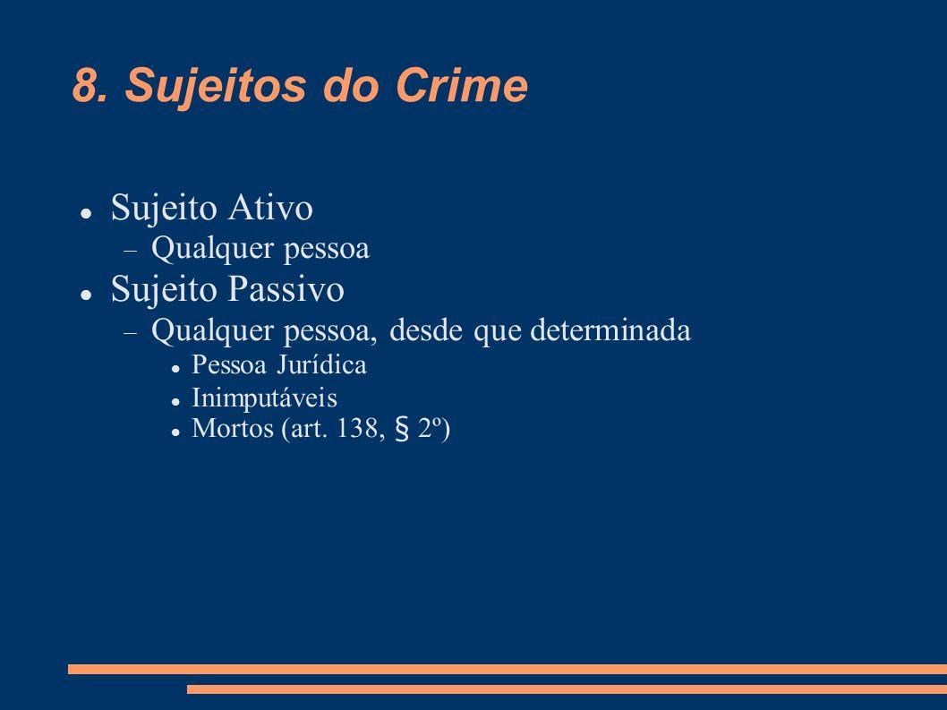 8. Sujeitos do Crime Sujeito Ativo Qualquer pessoa Sujeito Passivo Qualquer pessoa, desde que determinada Pessoa Jurídica Inimputáveis Mortos (art. 13