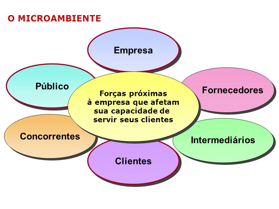 O AMBIENTE DE MARKETING A concorrência representa apenas uma das forças no ambiente em que a empresa opera. O ambiente de marketing é constituído de a