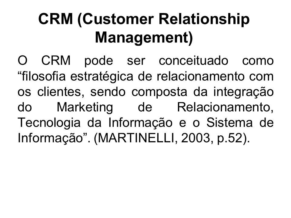 CRM (Customer Relationship Management) O CRM pode ser conceituado como filosofia estratégica de relacionamento com os clientes, sendo composta da inte