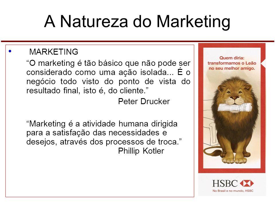 A Natureza do Marketing O CONCEITO DE MARKETINGO CONCEITO DE MARKETING Marketing é um processo social por meio do qual pessoas e grupos de pessoas, ob