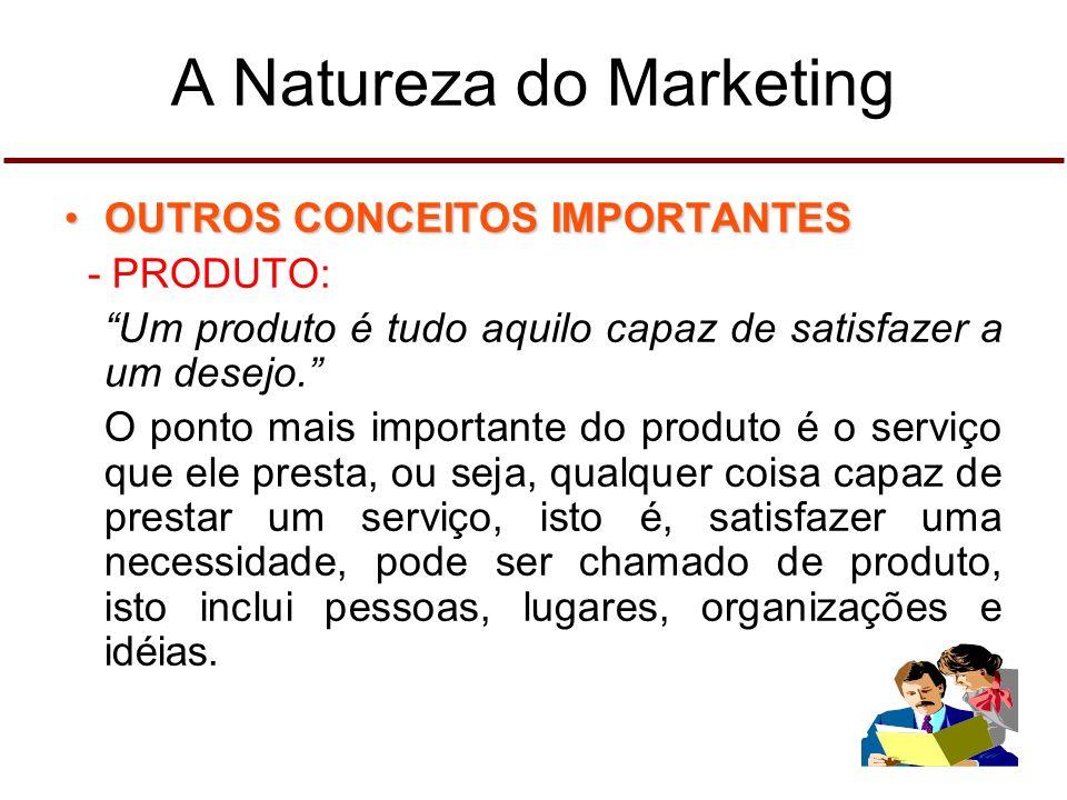 A Natureza do Marketing OUTROS CONCEITOS IMPORTANTESOUTROS CONCEITOS IMPORTANTES - PRODUTO: Um produto é tudo aquilo capaz de satisfazer a um desejo.