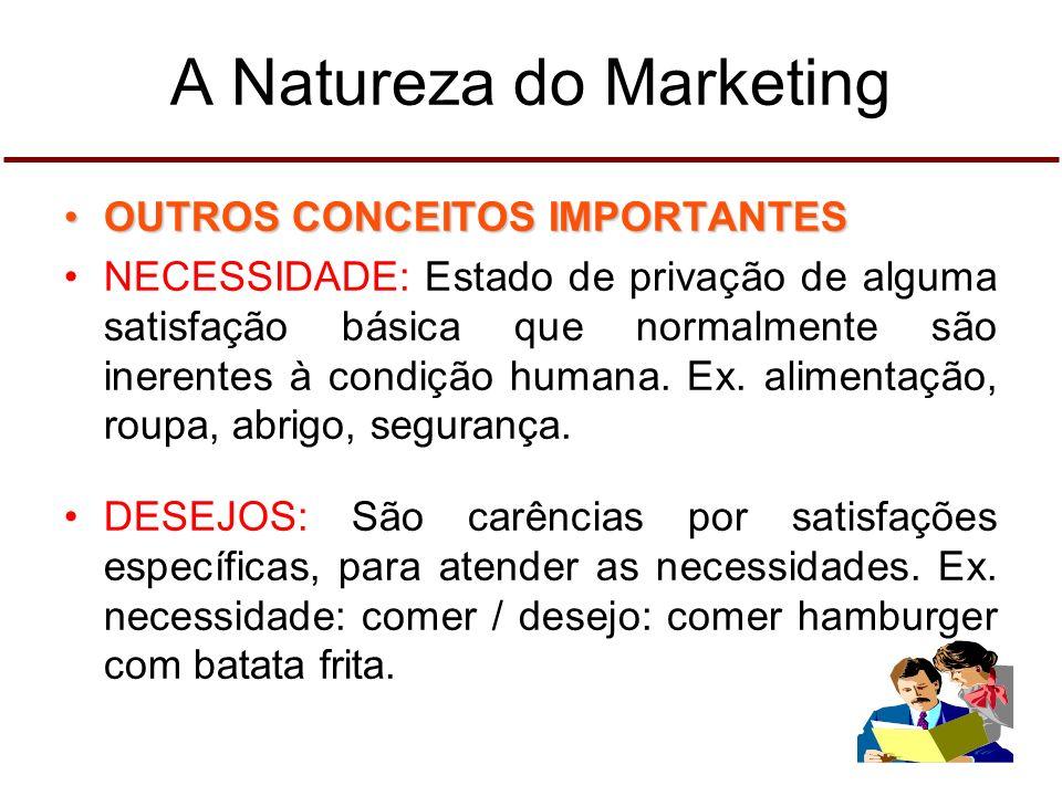 A Natureza do Marketing OUTROS CONCEITOS IMPORTANTESOUTROS CONCEITOS IMPORTANTES NECESSIDADE: Estado de privação de alguma satisfação básica que normalmente são inerentes à condição humana.