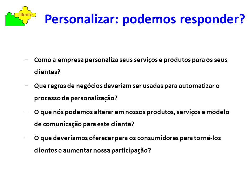 – Personalizar é simples quando conhecemos o cliente – É necessário ter flexibilidade no negócio para poder adequar-se – Mude seu produto/serviço com