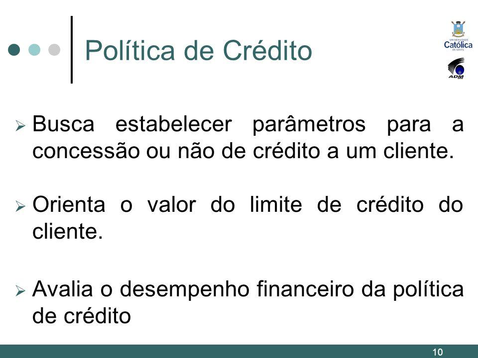 Política de Crédito Busca estabelecer parâmetros para a concessão ou não de crédito a um cliente. Orienta o valor do limite de crédito do cliente. Ava