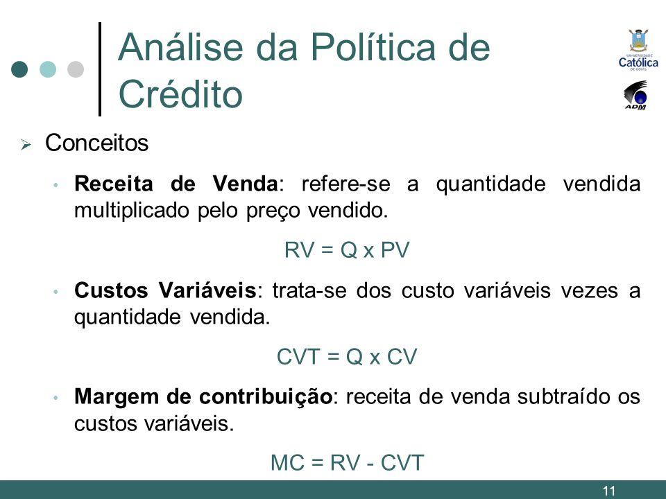 Análise da Política de Crédito Conceitos Receita de Venda: refere-se a quantidade vendida multiplicado pelo preço vendido. RV = Q x PV Custos Variávei