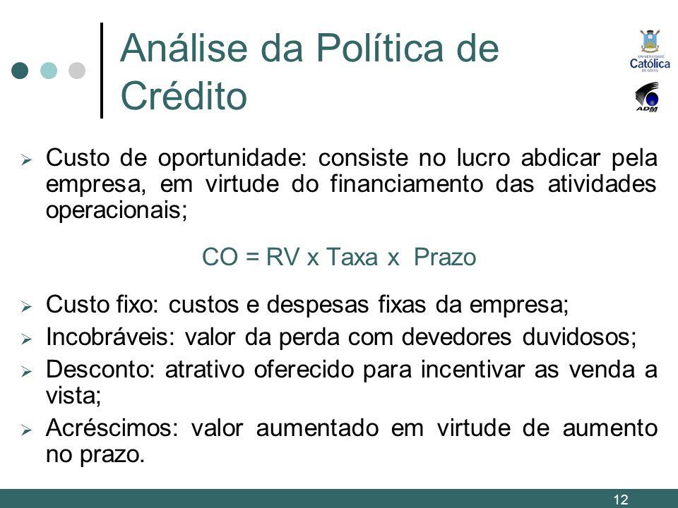 Análise da Política de Crédito Custo de oportunidade: consiste no lucro abdicar pela empresa, em virtude do financiamento das atividades operacionais;